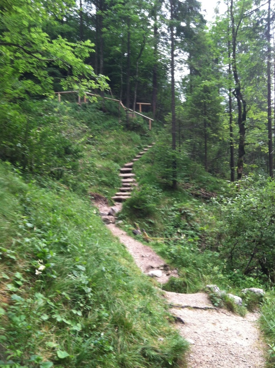 Stair climbing at the waterfall near Inzell Germany